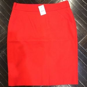 NWT J. Crew Pencil Skirt in Red - Size 6